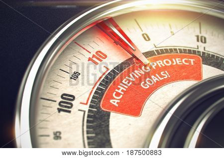 Compass with Red Needle Pointing the Caption Achieving Project Goals on the Red Label. 3D Render.