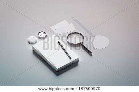 Book presentation design mock up elements 3d rendering. Blank objects mockups bookish store presenting template. Bookshop branding identity set. Empty wobbler business cards pin textbook.
