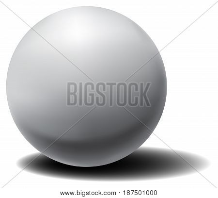 Vector white 3D sphere with shadow. Realistic sphere with shadow. Simple geometric form.