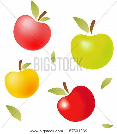 Colored vector apples with leaves. Illustration and pattern.