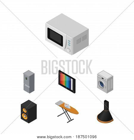 Isometric Device Set Of Microwave, Air Extractor, Television And Other Vector Objects. Also Includes Kitchen, Microwave, Machine Elements.