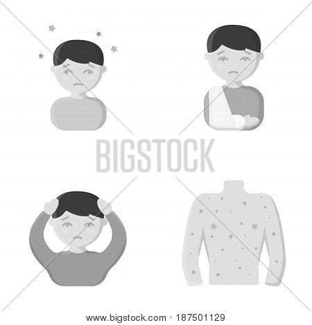 A boy with a headache, with stars, a man with a broken hand in a cast, a sick man grabbed his head with his hands, a man's torso with ulcers and a rash. Sick set collection icons in monochrome style vector symbol stock illustration .