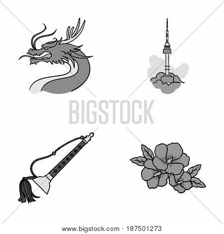 Dragon with mustache, Seoul tower, national musical instrument, hibiscus flower. South Korea set collection icons in monochrome style vector symbol stock illustration .