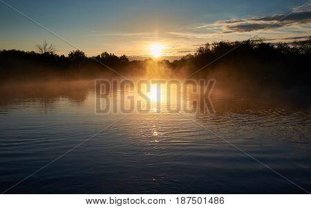 Foggy Dawn on the Mologa River. Russia, Tver region
