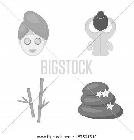 Face with a cosmetic mask with cucumbers, massage hands, bamboo, stones with lotus flowers. Spa set collection icons in monochrome style vector symbol stock illustration .