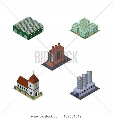 Isometric Construction Set Of Clinic, Chapel, Water Storage And Other Vector Objects. Also Includes Storage, Building, Catholic Elements.
