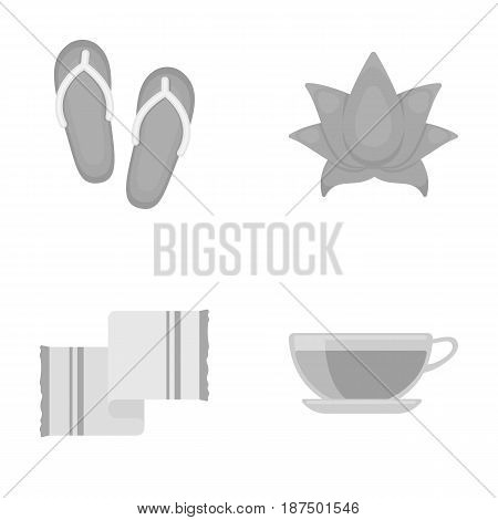 Flip-flops for the pool, lotus flower with petals, yellow towel with fringe, cup with tea, drink. Spa set collection icons in monochrome style vector symbol stock illustration .
