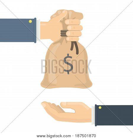 Giving money bag on white background. Symbol of investment.