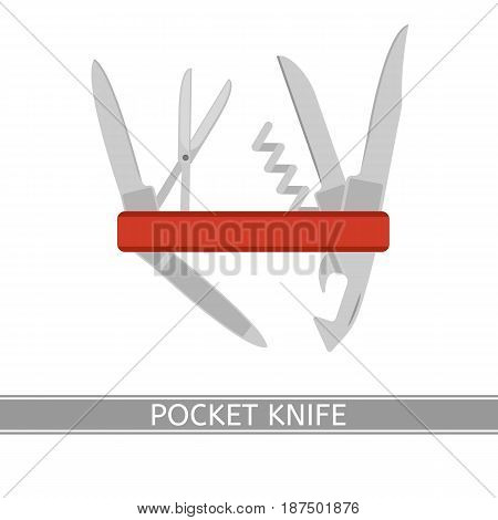 Multifunctional pocket knife vector icon. Isolated on white background flat style. Folding knife for camping hunting fishing outdoors.