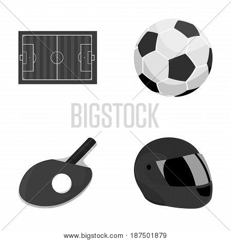 Field, stadium with markings for playing football, football ball, racket with a ball for ping-pong, protective helmet for the game, glove for baseball or rugby. Sport set collection icons in monochrome style vector symbol stock illustration .
