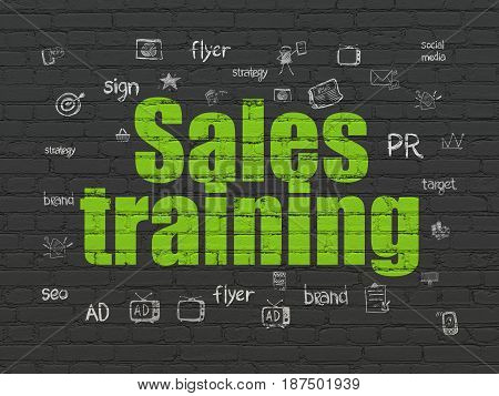 Advertising concept: Painted green text Sales Training on Black Brick wall background with  Hand Drawn Marketing Icons