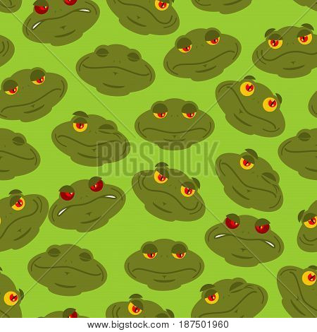 Frog Seamless Pattern. Amphibian Ornament. Toad Texture. Head Of Reptilian Background