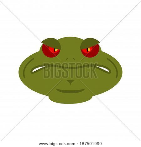 Frog Angry Emoji. Toad Avatar Evil Amphibious. Emotion Reptile Face