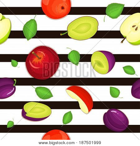 Seamless vector pattern of ripe apple and plum fruit. Striped background with delicious juicy plums and apples slice half leaves. Vector fresh fruit Illustration for printing on fabric, textile design.