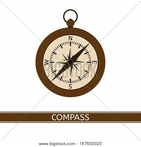 Compass with windrose vector icon isolated on white background flat style