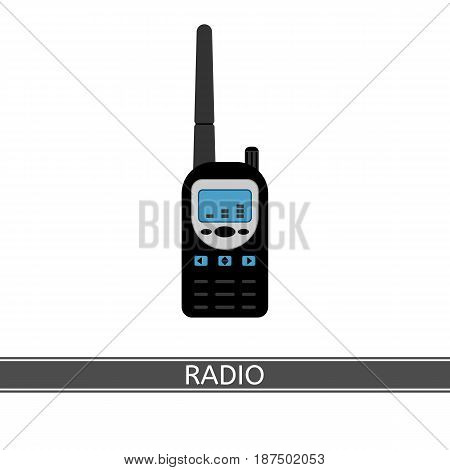 Two way long range radio vector icon. Walkie Talkie isolated on white background. Handheld transceiver in flat style