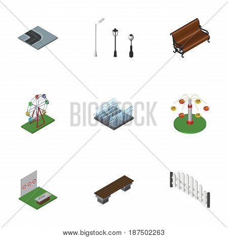 Isometric Urban Set Of Sitting, Fountain, Aiming Game And Other Vector Objects. Also Includes Archery, Swing, Path Elements.