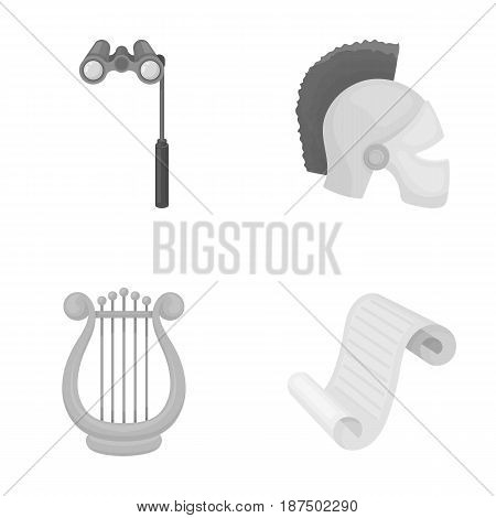 Theatrical binoculars, a helmet, a harp and a paper scroll. The theater set collection icons in monochrome style vector symbol stock illustration .