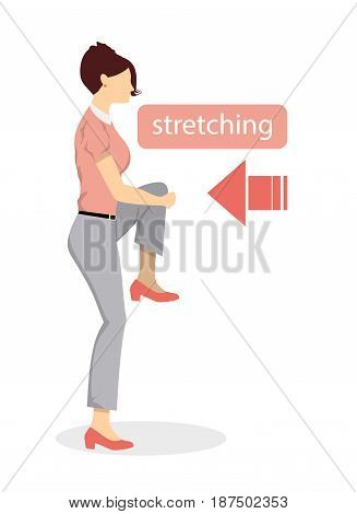 Sport exercises for office. Office yoga for tired employees with chair and table. Leg and knee stretching.