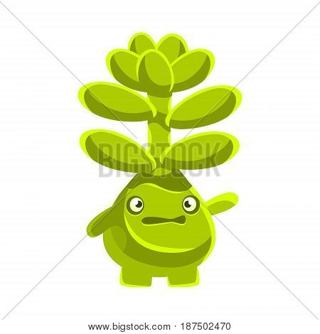 Cute worried succulent emoji. Cartoon emotions character vector Illustration isolated on a white background