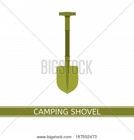 Gardening shovel vector icon isolated on white background. Work tool in flat style for outdoor activities camping hiking fishing digging