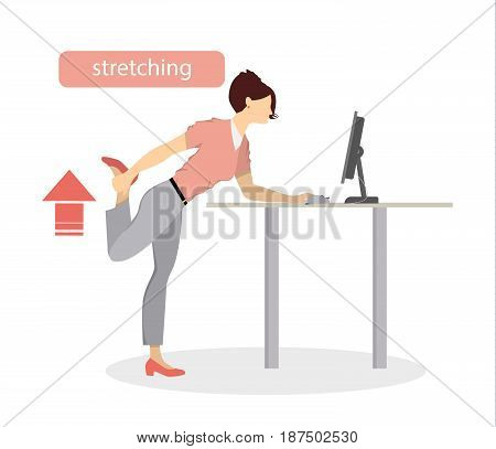 Sport exercises for office. Office yoga for tired employees with chair and table. Leg stretching.