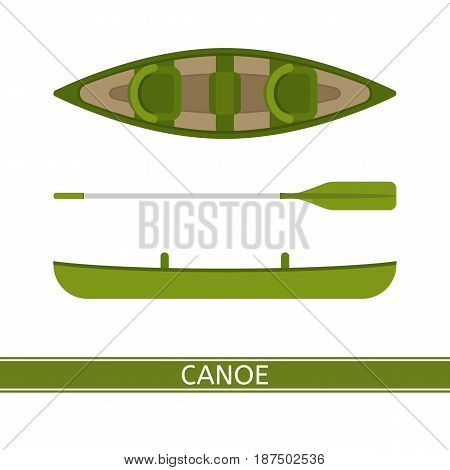 Canoe vector icon with paddles isolated on white background in flat style.