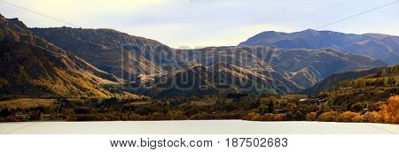 Panorama of Mountain alpine alps range at Lake Hayes Queenstown NewZealand