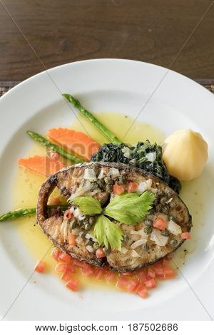 Fried mackerel Steak with potato
