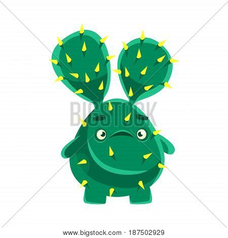 Cute cactus with a troubled face. Cartoon emotions character vector Illustration isolated on a white background