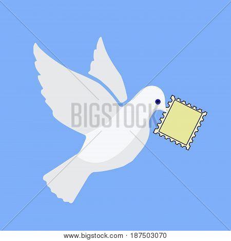 Cartoon White Dove With Post Stamp In Beak