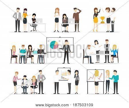 Office illustration set on white background. People work and discuss.