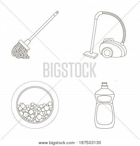 A mop with a handle for washing floors, a green vacuum cleaner, a window of a washing machine with water and foam, a bottle with a cleaning agent. Cleaning set collection icons in outline style vector symbol stock illustration .