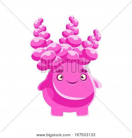 Cute pink succulent with a smiling face. Cartoon emotions character vector Illustration isolated on a white background