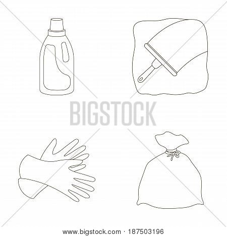 Gel for washing in a pink bottle, yellow gloves for cleaning, a brush for glass, a black bag for garbage or waste. Cleaning set collection icons in outline style vector symbol stock illustration .