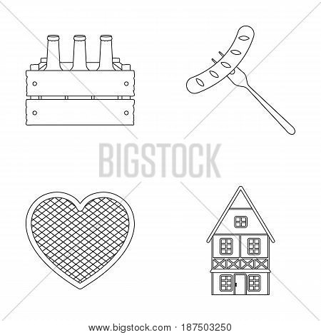 Box with beer, fried sausage, heart of the festival, Bavarian cottage. Oktoberfestset collection icons in monochrome style vector symbol stock illustration .