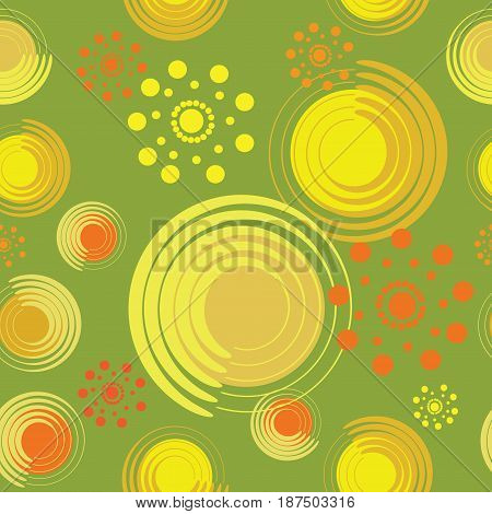 Abstract flowers from spirals and circles. Warm green background. Seamless pattern for designer fabrics, wrapping paper, tapestries, glassware.