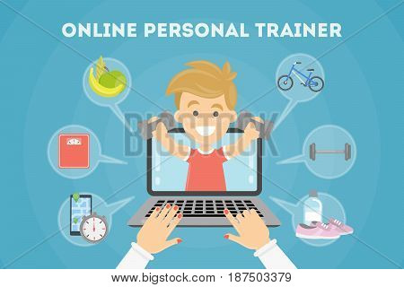Personal fitness trainer online. Laptop with icons.