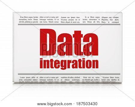 Data concept: newspaper headline Data Integration on White background, 3D rendering