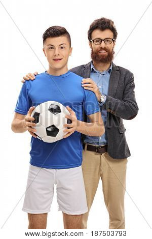 Teenage soccer player posing with his father isolated on white background
