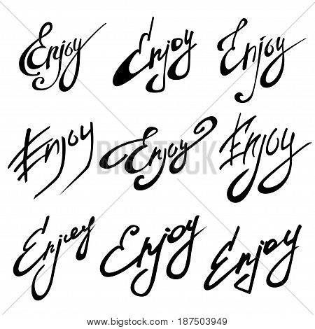 ENJOY calligraphy. Hand drawing lettering vector illustration. Enjoy lettering design, love and romantic quote.