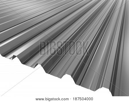 Grey corrugated sheet metal profile 3D illustration