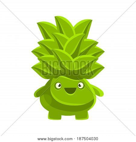 Happy smiling succulent emoji. Cartoon emotions character vector Illustration isolated on a white background