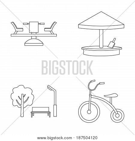 Carousel, sandbox, park, tricycle. Playground set collection icons in outline style vector symbol stock illustration .