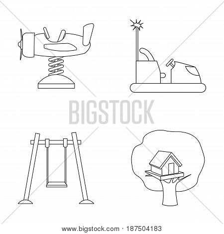Airplane on a spring, swings and other equipment. Playground set collection icons in outline style vector symbol stock illustration .