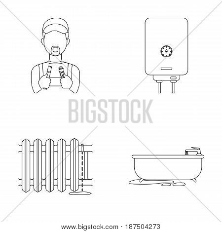 Plumber, boiler and other equipment.Plumbing set collection icons in outline style vector symbol stock illustration .