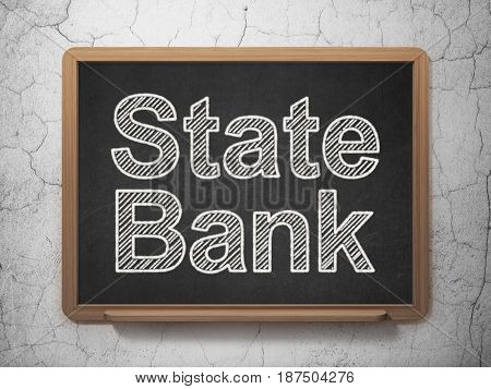 Money concept: text State Bank on Black chalkboard on grunge wall background, 3D rendering