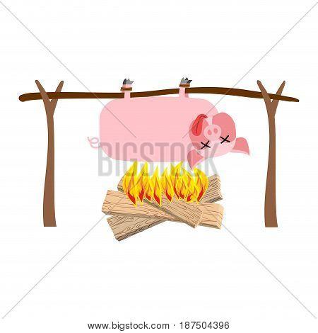 Grilled Pig Meat On Spit. Roasting Pork. Bbq Piglet