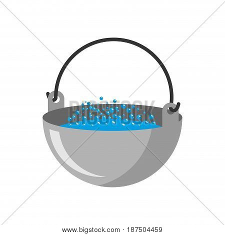 Camp Bowler Isolated. Camping Pot On White Background
