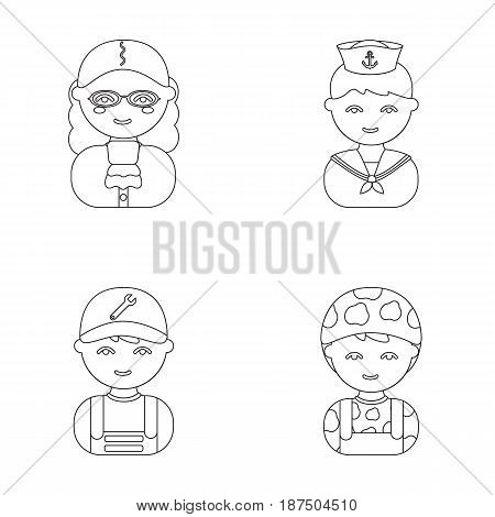 Judge, sailor, soldier, mechanic.Profession set collection icons in outline style vector symbol stock illustration .